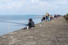 Poti, Γεωργία - 29 04 2018: Ψαράδες στη λίμνη Paliastomi Στοκ φωτογραφίες με δικαίωμα ελεύθερης χρήσης