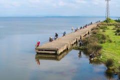 Poti, Γεωργία - 29 04 2018: Ψαράδες στη λίμνη Paliastomi Στοκ Εικόνα