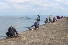 Poti, Georgia - 29 04 2018: Рыболовы на озере Paliastomi Стоковое Изображение RF