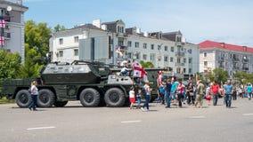 Poti, Gruzja - 26 05 2018: militarny wyposażenie na ulicach Obrazy Stock
