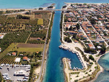 Potidea sea canal in Greece. Aerial view of Potidea sea canal in Chalkidiki, Greece royalty free stock photography