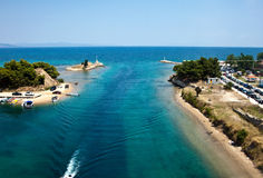 Potidea sea Channel, Chalkidiki, Greece. Aerial view of Potidea sea Channel, Chalkidiki, Greece royalty free stock photos