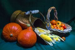 Potimarronpompoen met suikermaïs en tomatoe stock afbeeldingen