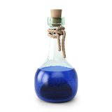 Potion. Blue potion in the bottle. isolated on white background Stock Photography