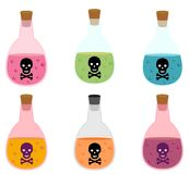 Potion bottle with poison and skull label. In flat style for Halloween designs Royalty Free Stock Photography