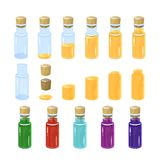 Potion bottles. colorful set. In the bottle poured a different amount of creepy. Potion bottles. illustration. colorful set. In the bottle poured a different royalty free stock image