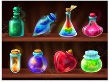 Free Potion Bottles. Game Alchemist Liquids On Wooden Shelf, Cartoon Love Potion, Poison, Magic Elixir. Vector Set Of Fantasy Royalty Free Stock Photos - 174920458
