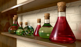 Potion Bottles On A Shelf Stock Photos