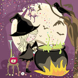 Potion is cooking. Witch stirring a potion in cauldron Royalty Free Stock Photo