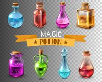 Potion Flasks Transparent Collection. Potion bottle transparent set of  magic glass tube images of different colour and shape vector illustration Stock Photography