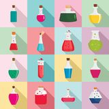 Potion magic bottle icons set, flat style. Potion magic bottle icons set. Flat illustration of 16 potion magic bottle icons for web stock illustration