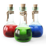 Potion. Poisons in glass vials. on white background royalty free illustration