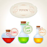 Potion set. Illustration of a bottle with a magic desire potion Royalty Free Stock Images