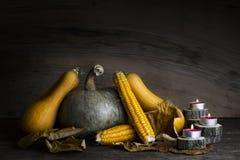 Potiron, épi de maïs, feuilles d'automne et bougies brûlantes de décoration o Image stock