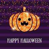 Potiron brillant de Halloween sur Violet Background Photographie stock libre de droits