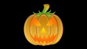 Potiron découpé illuminé par des bougies de clignotement de Halloween clips vidéos