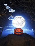 potiron 3D contre un paysage fantasmagorique de Halloween illustration libre de droits