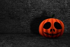 potiron de 3D Halloween dans un intérieur grunge de brique illustration libre de droits