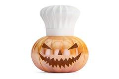 Potiron de Halloween avec le chapeau de chefs Image stock