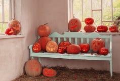 Potiron de Halloween d'intérieur Photographie stock libre de droits