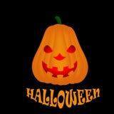 Potiron de Halloween d'isolement sur le fond noir Photo libre de droits