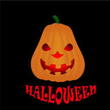 Potiron de Halloween d'isolement sur le fond noir Photographie stock