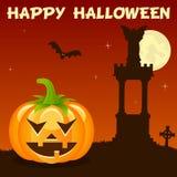 Potiron de Halloween de nécropole sur l'orange Images libres de droits