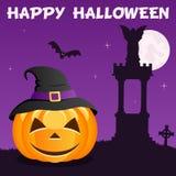 Potiron de Halloween de nécropole sur la violette Image libre de droits