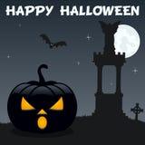 Potiron de Halloween de nécropole sur le noir Photo stock