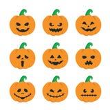 Potiron de Halloween réglé avec des visages illustration libre de droits