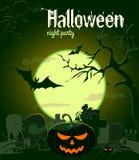 Potiron de Halloween sur le vieux cimetière, illustration de vecteur Photos stock