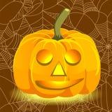 Potiron de sourire rougeoyant de Halloween Photographie stock libre de droits