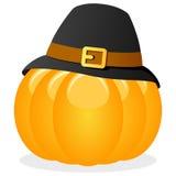 Potiron de thanksgiving avec le chapeau de pèlerin Photographie stock libre de droits