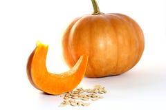 Potiron de thanksgiving et tranche et graines Images libres de droits
