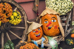 Potiron deux drôle pour Halloween photo stock