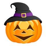 Potiron drôle de Halloween avec le chapeau de sorcière Photos libres de droits