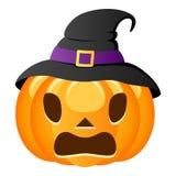 Potiron effrayé de Halloween avec le chapeau de sorcière Photos libres de droits