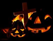 Potiron effrayant de Halloween Photographie stock libre de droits