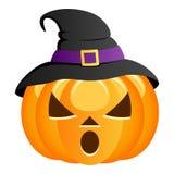 Potiron effrayant de Halloween avec le chapeau de sorcière Images libres de droits