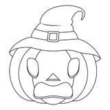 Potiron effrayant de Halloween de coloration avec le chapeau Photo libre de droits