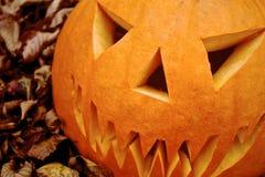 Potiron effrayant de Jack-o-lanterne de Halloween Photo libre de droits