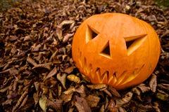 Potiron effrayant de Jack-o-lanterne de Halloween Photos stock
