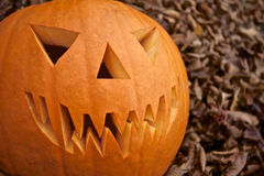 Potiron effrayant de Jack-o-lanterne de Halloween Image libre de droits
