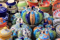 Potiron en céramique coloré (fabriqué à la main) Image libre de droits