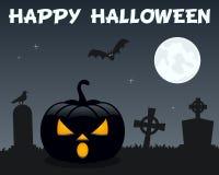 Potiron et cimetière de Halloween sur le noir Images stock