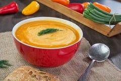 Potiron et soupe à patates douces Photo stock