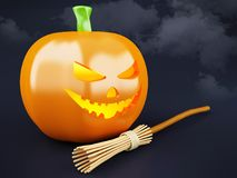 potiron heureux de 3d Halloween avec le balai Photo stock