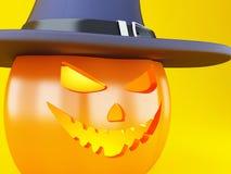 potiron heureux de 3d Halloween avec le chapeau illustration stock