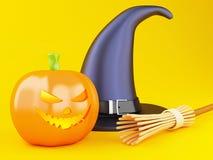 potiron heureux de 3d Halloween avec le chapeau Photographie stock