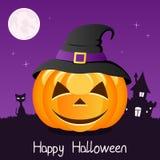 Potiron heureux de Halloween avec le chapeau sur la violette Image stock
